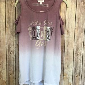 {Maurice's}Ombré cold shoulder graphic tee NWT
